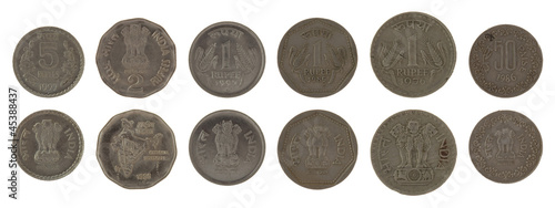 Indian Coins Isolated on White