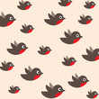 robin seamless pattern. bullfinch in the sky