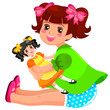 little girl playing with her doll