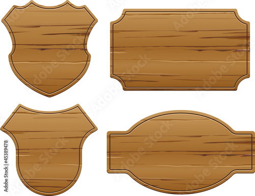 Vector set of 4 wooden signs