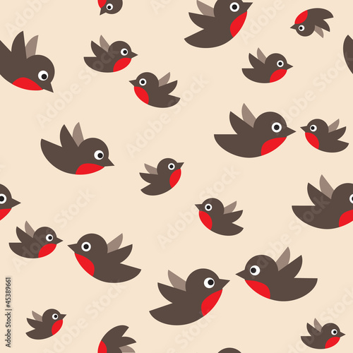 robin seamless pattern. bullfinch in the sky