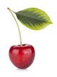 Ripe cherry with leaf