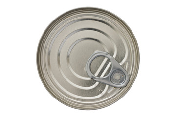 Single closed tin can shot from above isolated