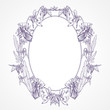 Vector vintage oval frame made of pansies