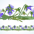 Vector seamless decorative border of the wild pansy