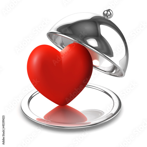 3d Silver tray with romantic red heart