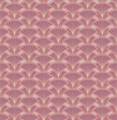 fan outline seamless pattern, floral retro motif