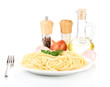 Composition of the delicious spaghetti isolated on white