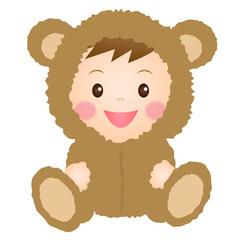 クマの着ぐるみを着た赤ちゃん