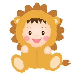 ライオンの着ぐるみを着た赤ちゃん