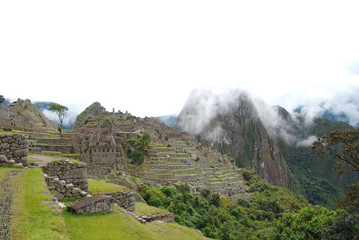 Vista panoramica de unas casas tipicas incas del Machu Picchu.