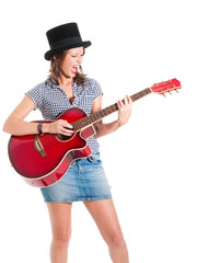 Screaming girl in black top hat playing guitar