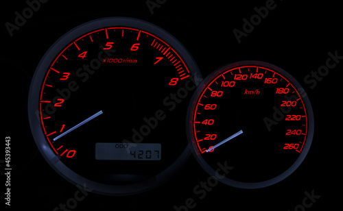 Sports car dashboard with speedometer and tachometer