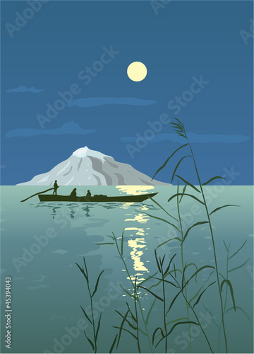 Night Seascape with Boat and Mountain