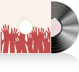 Vinyl disc cover in many human hands. Vector