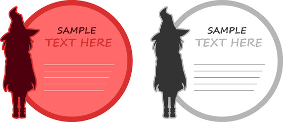 Witch silhouette and text bubble