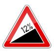 Warnschild RAL 3001 signalrot freigestellt - Steigung 12 Prozent