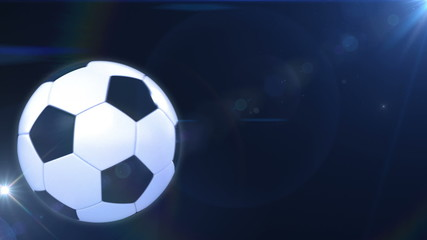 Soccer ball flying in flashes. Alpha mask.