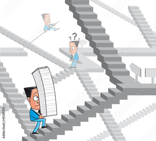 Businessman lost in the bureaucracy maze