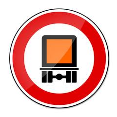 Verbotsschild RAL 3001 signalrot freigestellt - LKW