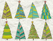 christmas trees  on beije crumple background, vector