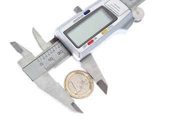 Measurement Vernier coins euros. On a white background.