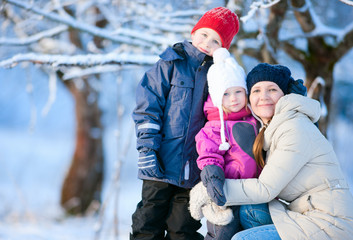 Family outdoors on a winter day