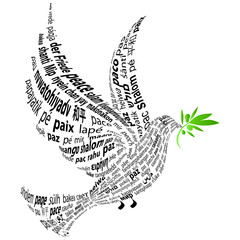 "Dove with the word ""peace"" in all languages"