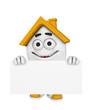 3D Haus mit Werbetafel - Orange