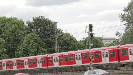 Red train in Hamburg.