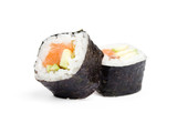 Two sushi fresh maki rolls, isolated on white
