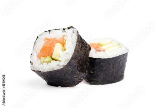 Fotobehang Vis Two sushi fresh maki rolls, isolated on white