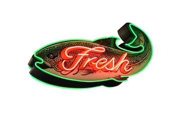 Fresh Fish Neon Sign isolated on white