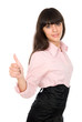 Young beautiful business woman showing thumbs up gesture