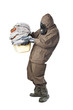 Man in Hazard Suit holding dirty towels