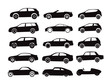 Modern and vintage cars silhouettes collection