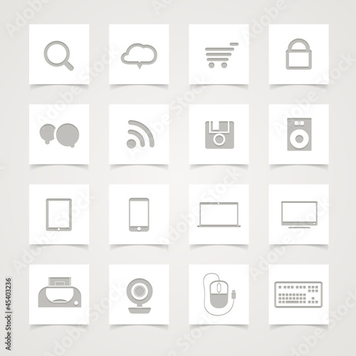 Modern Social media icons on paper buttons