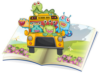 monsters, school bus and book