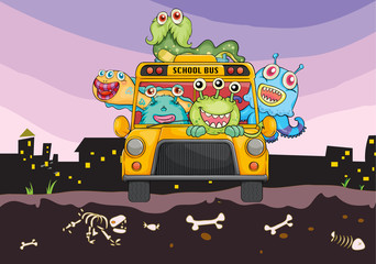 monsters and school bus