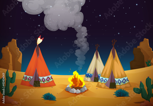 Papiers peints Indiens tent house and fire