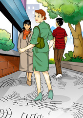 Illustration of business woman on sidewalk