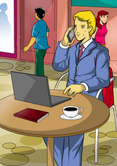 Illustration of a businessman at the street cafe