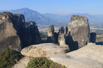 Meteora peaks at Kalambaka in Greece