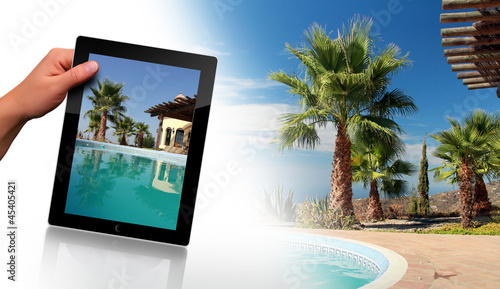 Swimming Pool, Palm and tablet pc