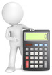 Accounting. 3D little human character with a black Calculator.