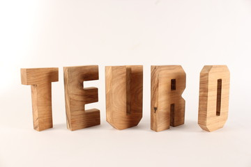 TEURO text animation with wooden letter version 2