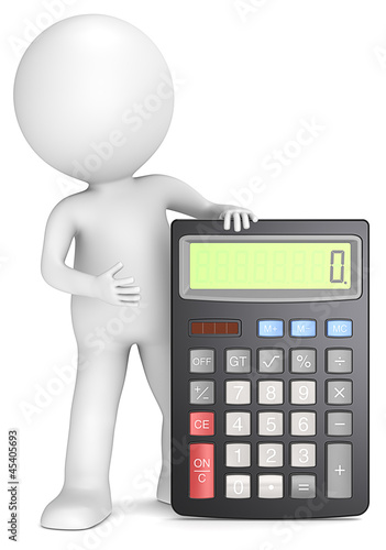 Illustration: Accounting. 3D little human character with a black
