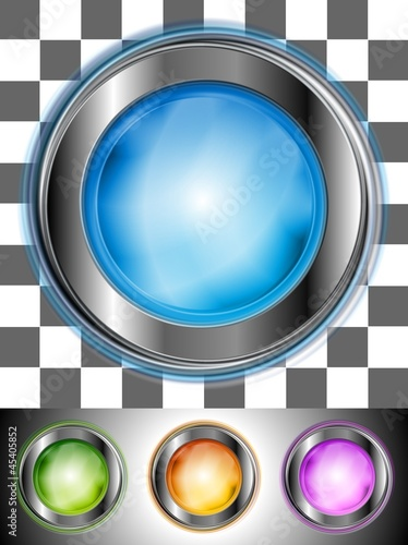 Colourful buttons with the same illumination. Vector background