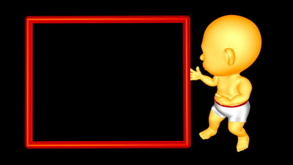 Baby and Bulletin Board. 3D animation. Loop + Alpha channel