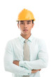Formalwear and hardhat